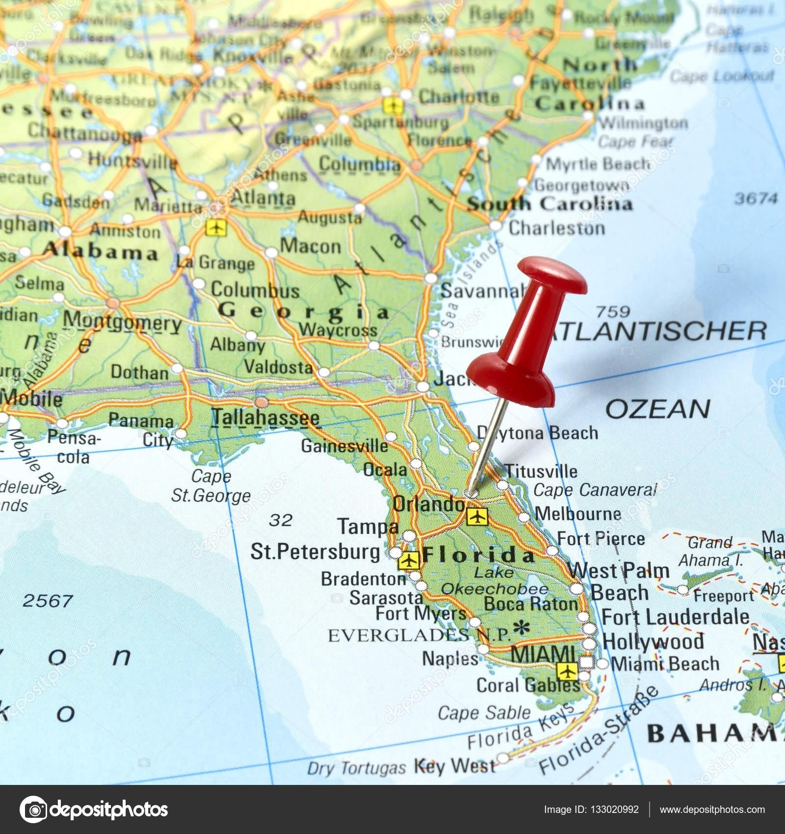 Florida Con Pin Set En Orlando — Foto De Stock © Eivaisla throughout Ruta Miami Orlando Mapa