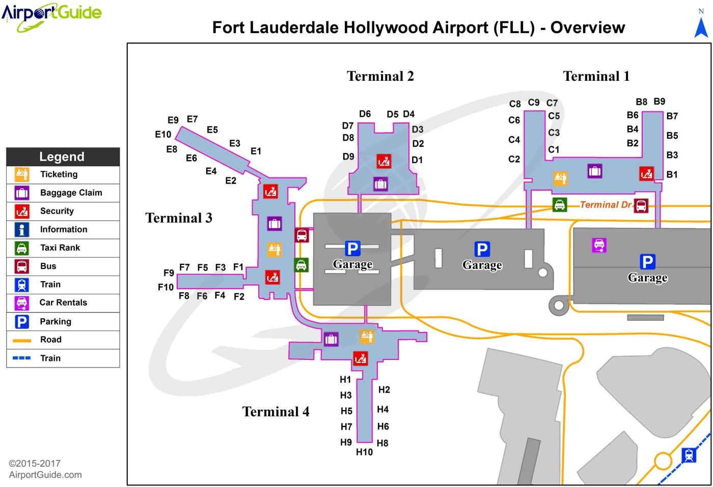 Fort Lauderdale - Fort Lauderdale/Hollywood International in Terminal N Miami International Airport Map