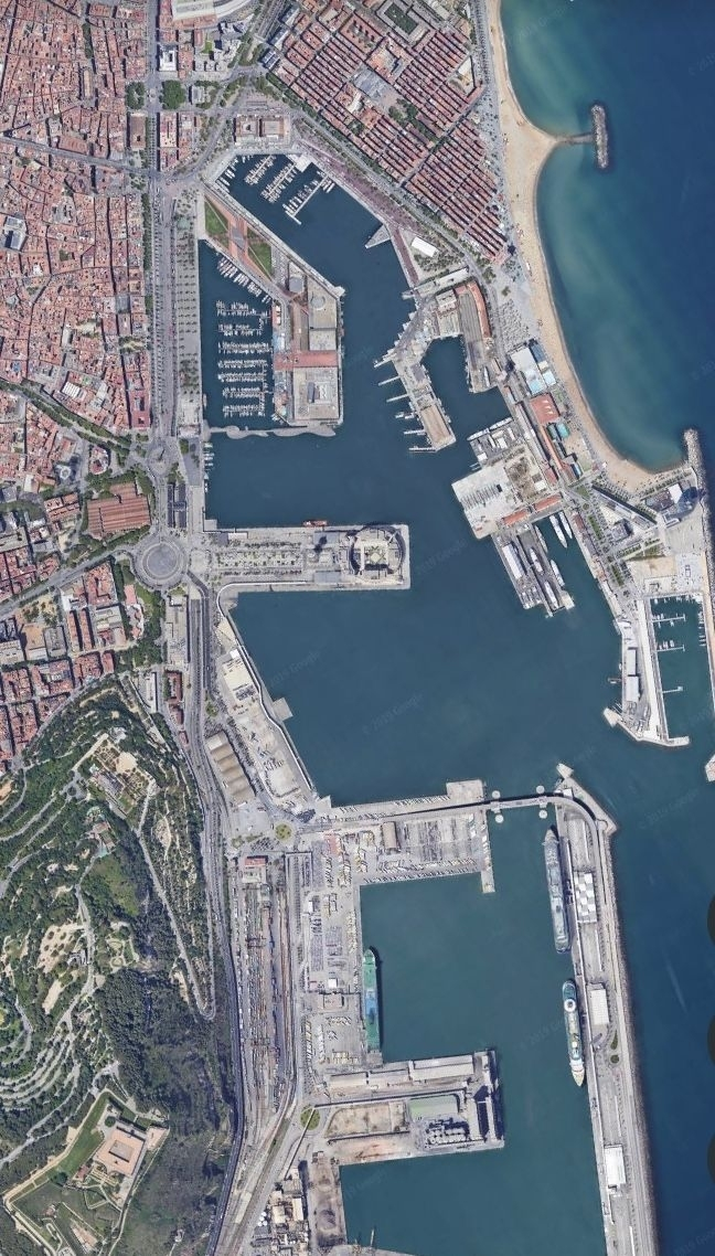 Google Earth. From The Air. Barcelona,Spain with Mapa Satelital De Miami