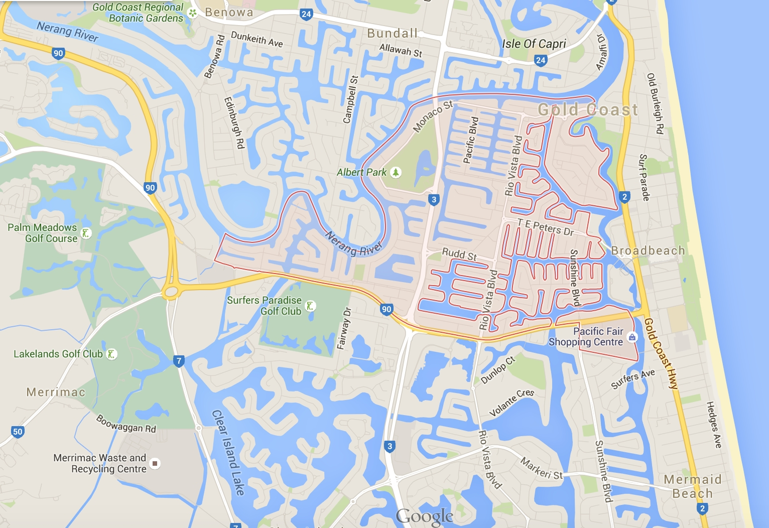 Greensocks - Easiest Lawnmowing In Broadbeach Waters! with regard to Map Of Miami Beach Queensland