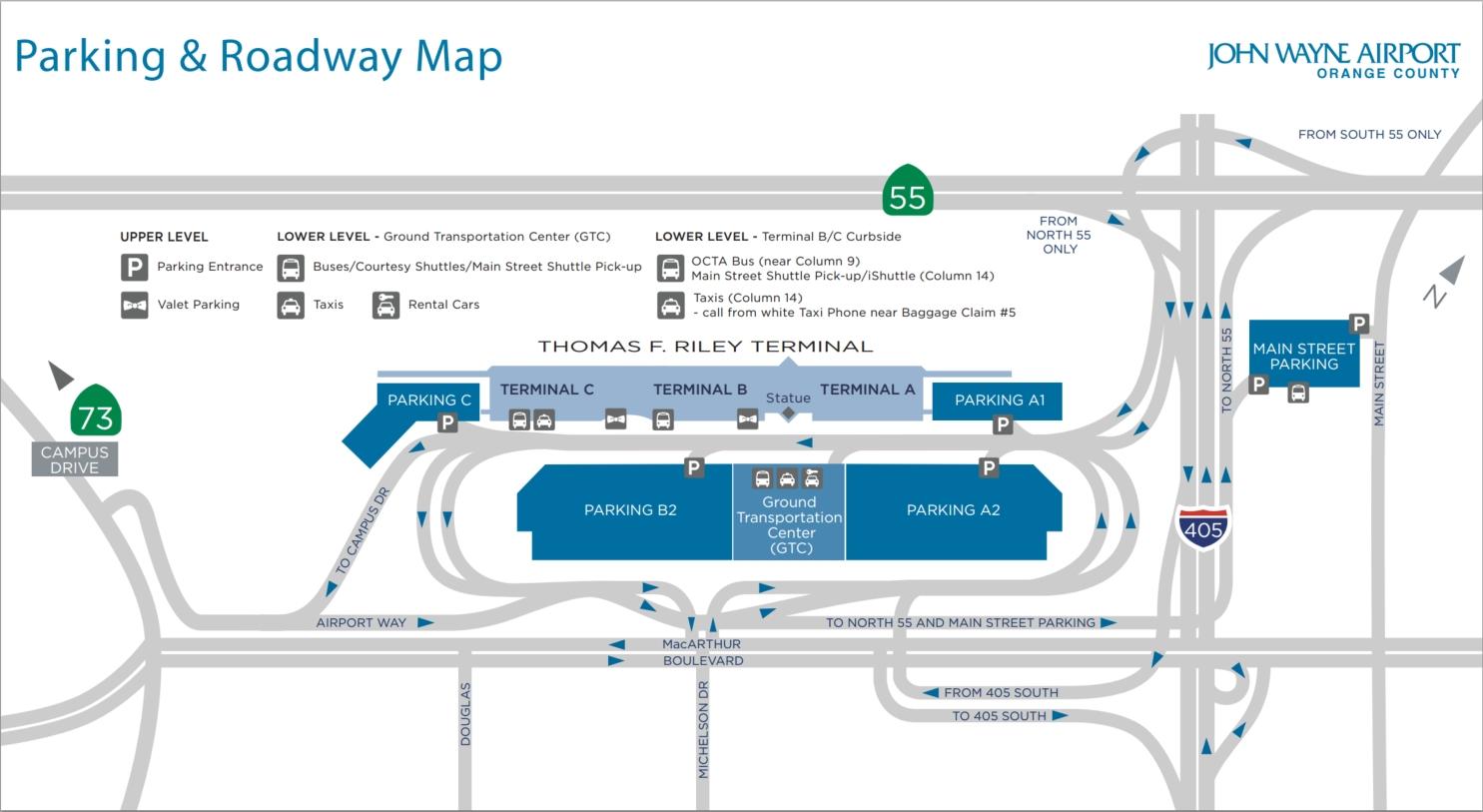John Wayne Aiport Parking Map   Airport Parking Guides within Miami International Airport Car Rental Center Map