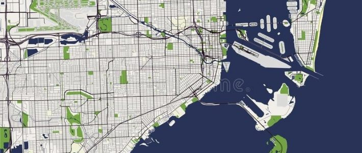 Map Of The City Of Miami, Usa Stock Vector - Illustration in Map Of Miami Florida Area
