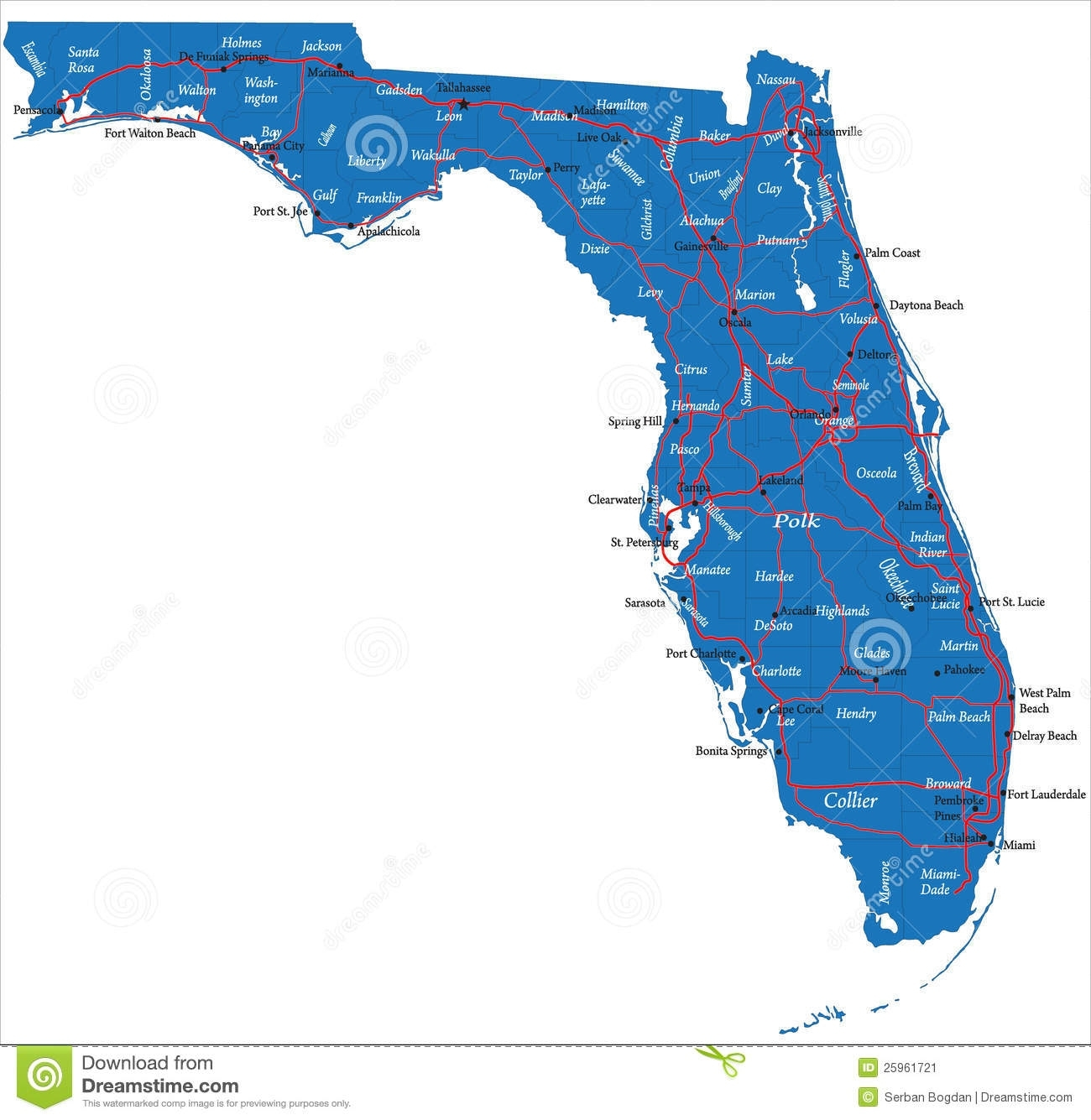 Mapa De Florida Imagem De Stock - Imagem: 25961721 for Mapa Miami La Florida