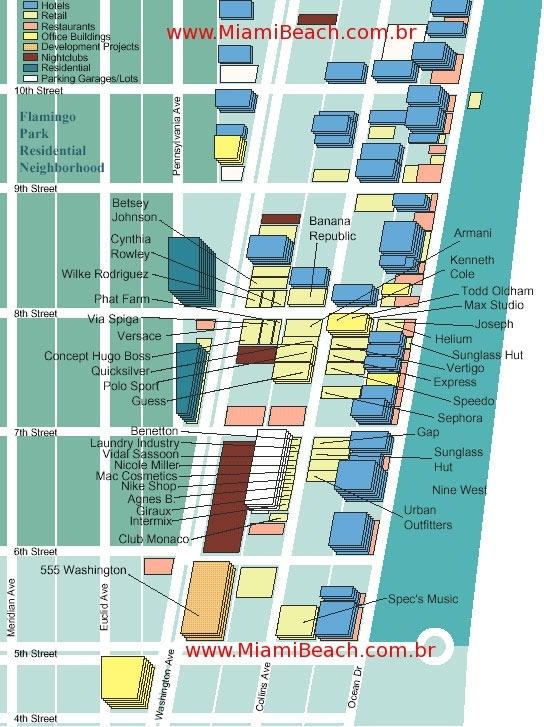 Mapa - Lojas Da Collins Avenue - Miami Beach - Guia Em for Miami South Beach Street Map