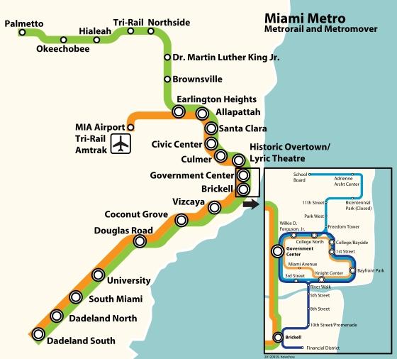 Metrorail - Wikipédia, A Enciclopédia Livre throughout Mapa Metro Miami Beach