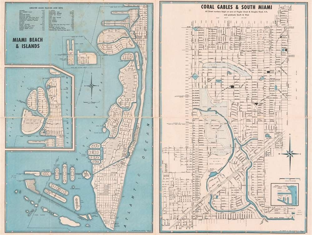Miami Beach And Islands. / Coral Gables And South Miami in Miami Springs Florida Map