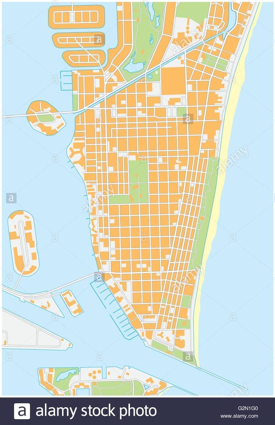 Miami-Beach Detailed Vector Street Map, Florida Stock with Miami Beach Florida Map