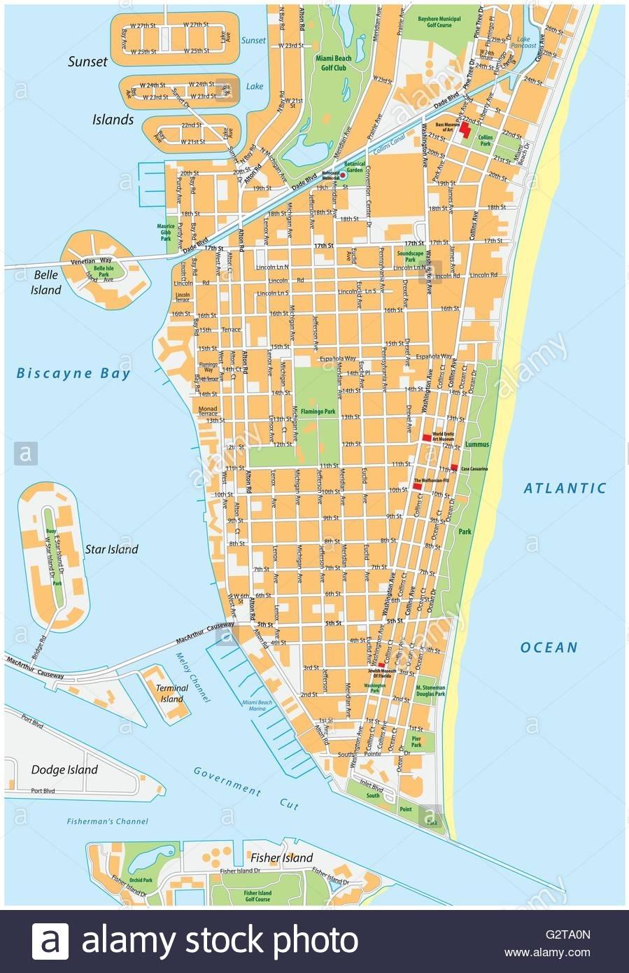 Miami Beach Detailed Vector Street Map With Names, Florida for Mapa De Miami Beach