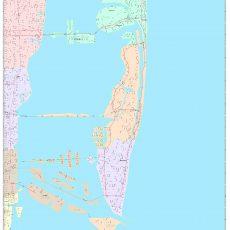 Miami Beach Florida Wall Map (Color Cast Style)Marketmaps regarding Miami Beach Topographic Map