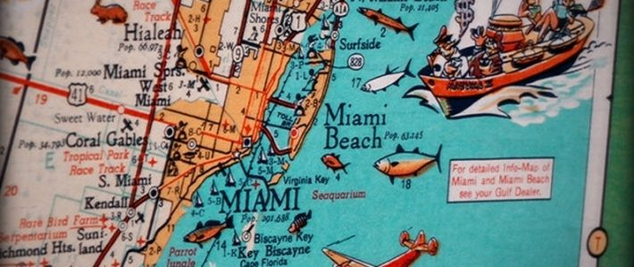 Miami Beach Key Biscayne Retro Beach Map Print Funky for Miami Beach On World Map