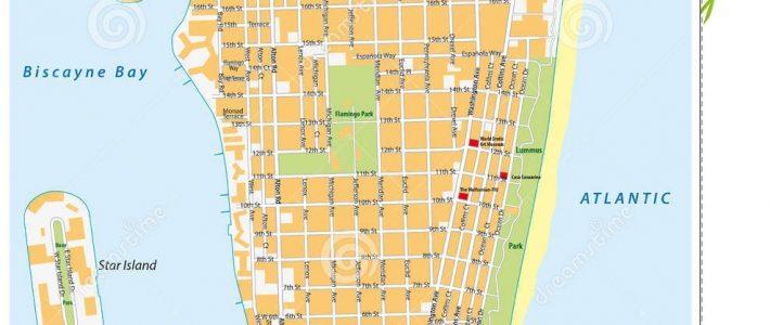 Miami-Beach Street Map, Florida Stock Illustration regarding Map Of Miami Beach