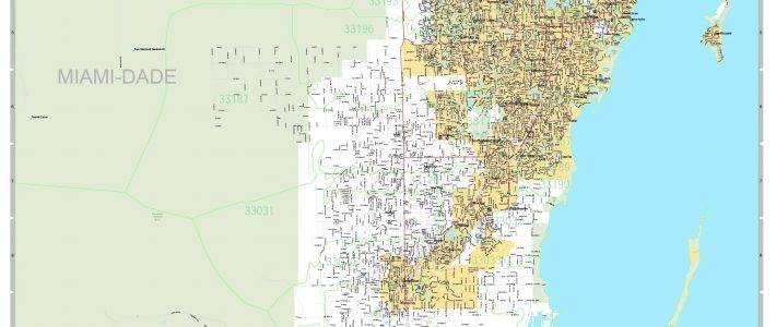 Miami-Dade County, Fl Zip Code Wall Map Basic Style within Miami County Map