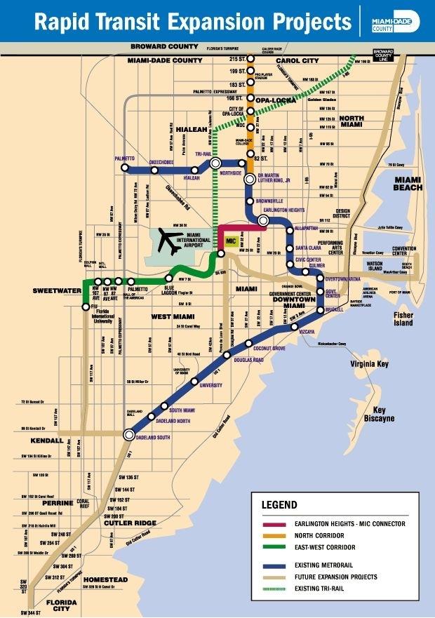 Miami Dade County Rail Expansion Proposals. (Miami Metro throughout Miami Dade Florida Map