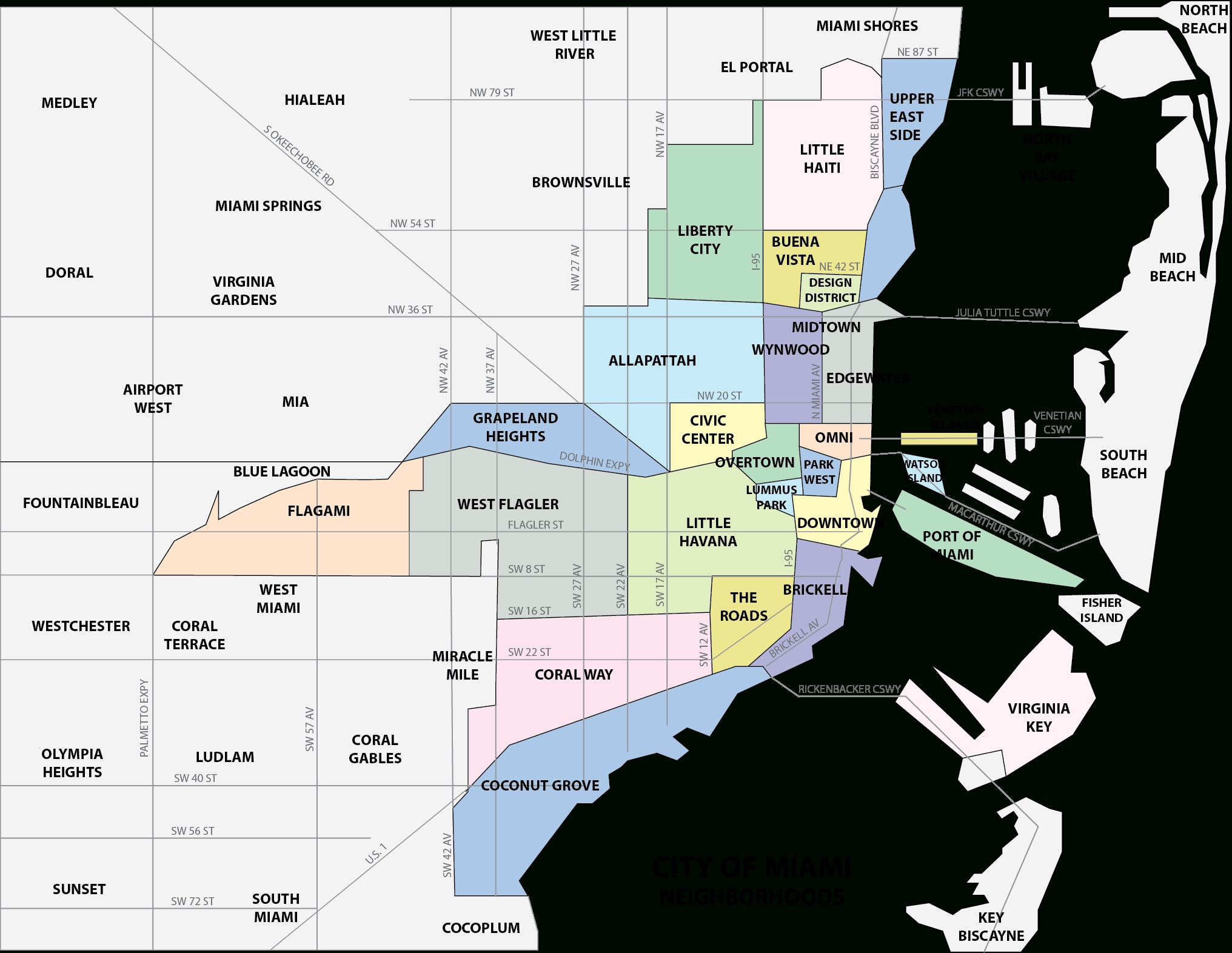 Miami - Familypedia regarding Miami Map By City