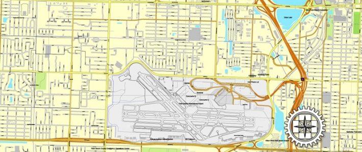 Miami, Florida, Us Printable Vector Street City Plan Map 3 with regard to Miami City Map Printable