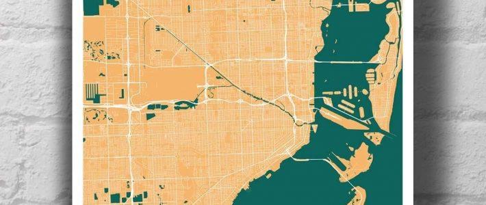 Miami Map Art Print   Map Art Print, Map Art, City Map Art within Miami City Map Street