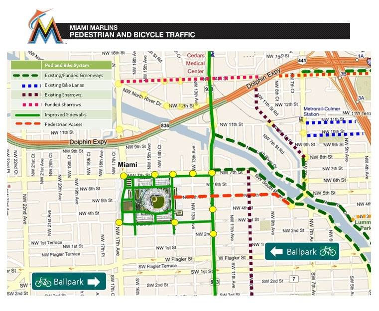 Miami Marlins - Pedestrian And Bicycle Traffic   The Miami with Miami Beach Bike Lane Map