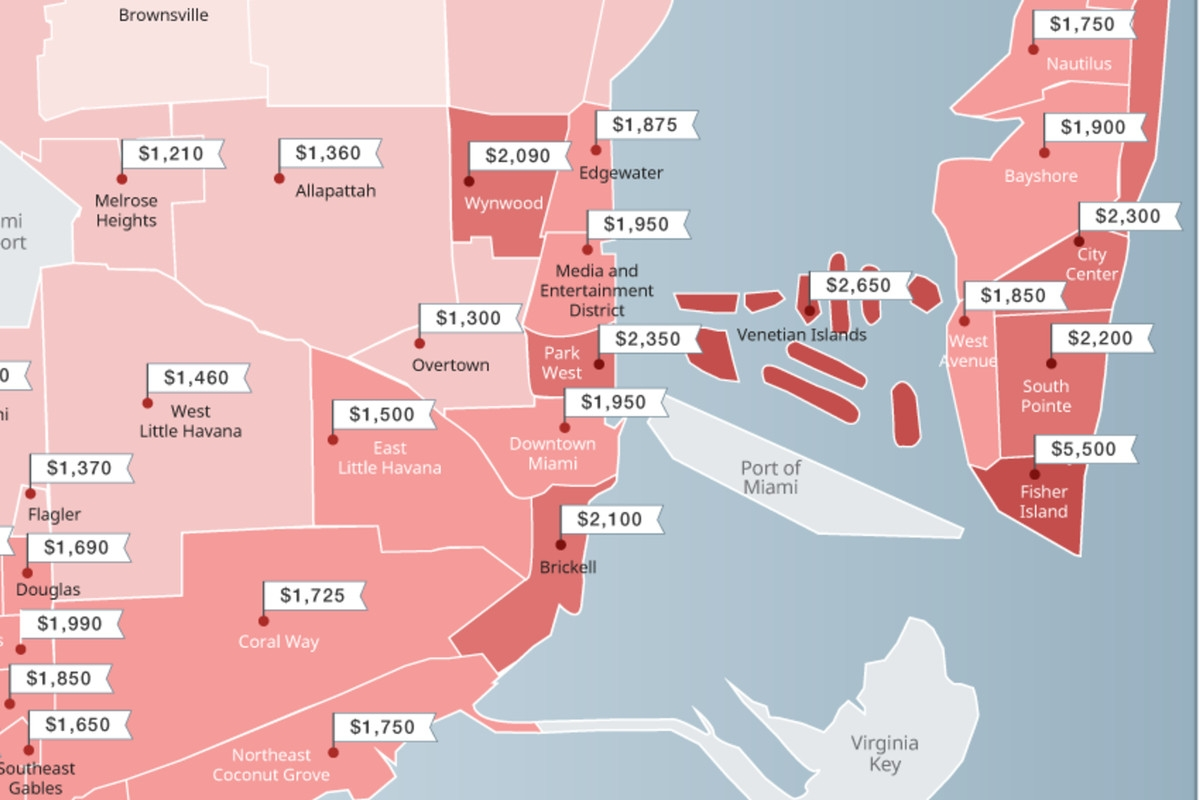 Miami Neighborhood Map Shows Dipping Rents - Curbed Miami with Beaches In Miami Map