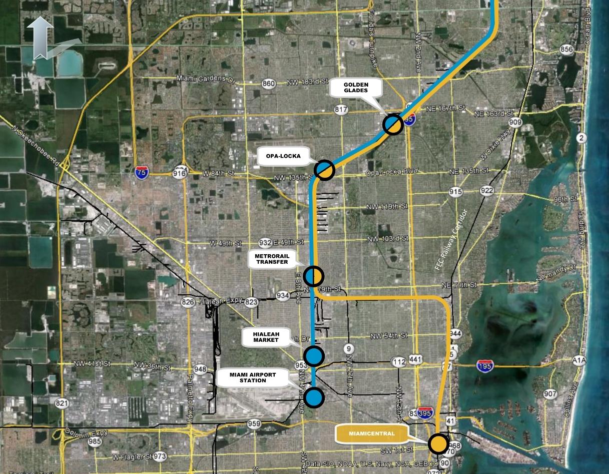 Miami Tri Rail Map inside Miami Mover Train Map