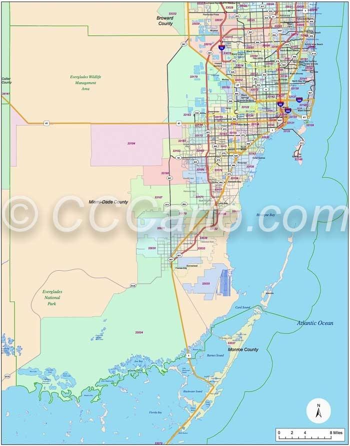 Miami Zip Code Boundary Map - Miami-Dade And Monroe inside Miami Dade County Cities Map