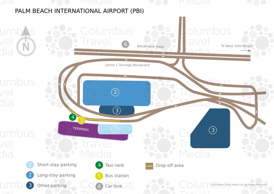 Palm Beach International Airport   World Travel Guide regarding Miami Airport Parking Garage Map