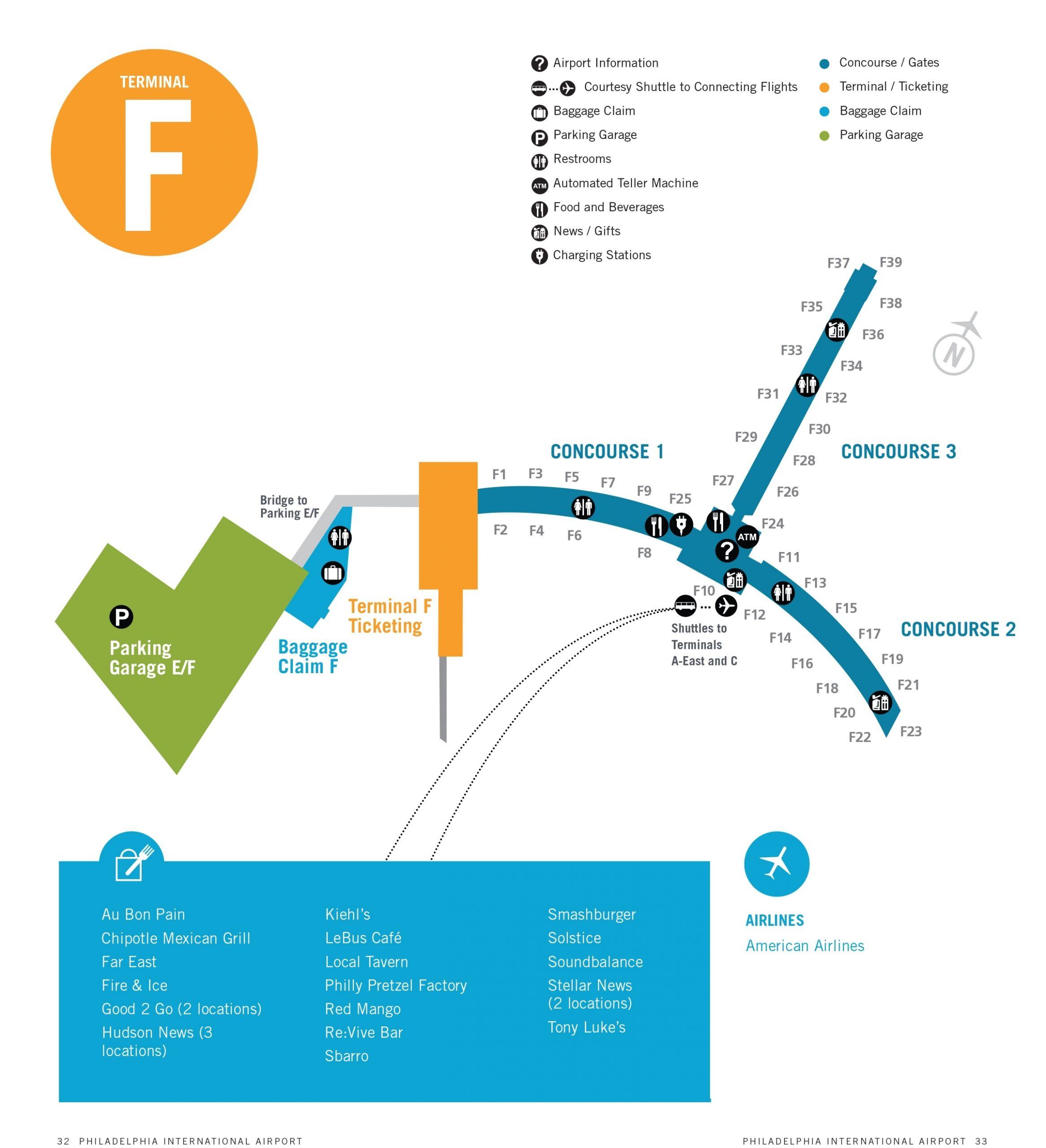 Philadelphia Airport Map (Phl) - Printable Terminal Maps regarding Miami Airport Map Terminal C
