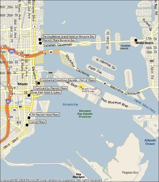 Port Of Miami Hotels Map #Cruiseroyalcarribean   Cruise regarding Port Of Miami Map