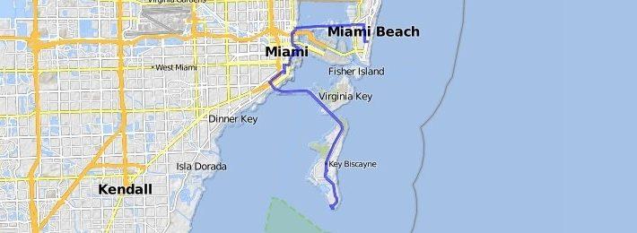 South Beach - Key Biscayne | Bikemap - Your Bike Routes regarding Miami Public Beaches Map