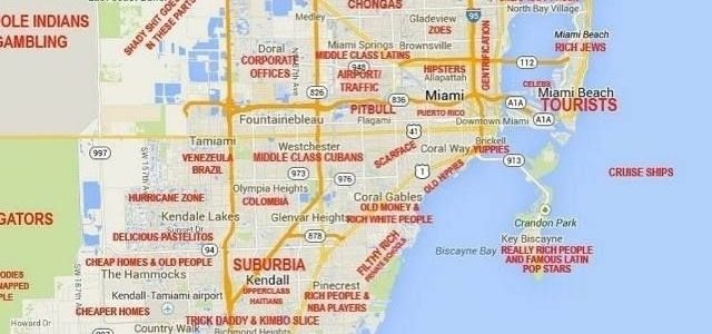 This Judgy Miami Map Will Offend Pretty Much Everyone in South Beach Miami Attractions Map